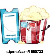 Popcorn Mascot Character With A Movie Ticket