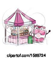 Clipart Of A Jam Mascot Character At A Food Stand Royalty Free Vector Illustration