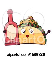 Taco Mascot Character Holding Hot Sauce