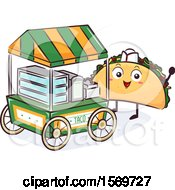 Taco Mascot Character At A Food Cart