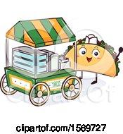 Taco Mascot Character At A Food Cart