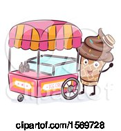 Chocolate Ice Cream Cone Mascot Character At A Food Cart