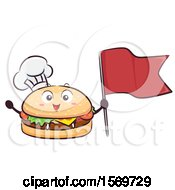 Clipart Of A Cheeseburger Mascot Character Holding A Toothpick Flag Royalty Free Vector Illustration