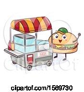 Cheeseburger Mascot Character At A Food Cart