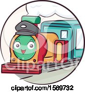Clipart Of A Train Mascot Wearing A Hat Royalty Free Vector Illustration