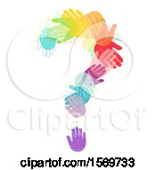 Clipart Of A Question Mark Formed Of Colorful Hands Royalty Free Vector Illustration by BNP Design Studio