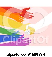 Clipart Of A Hand Shaking Other Hands To Show Support Royalty Free Vector Illustration