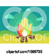 Clipart Of A Camp Fire With Hand Flames Royalty Free Vector Illustration