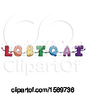 Clipart Of Colorful LGBTQAI Letters Holding Hands Royalty Free Vector Illustration