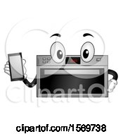 Smart Oven Character Holding A Cell Phone