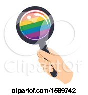Clipart Of A Hand Holding A Rainbow Magnifying Glass Royalty Free Vector Illustration