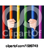 Clipart Of Hands Grasping Colorful Bars Royalty Free Vector Illustration