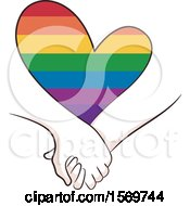 Couple Holding Hands Under A Rainbow Heart