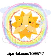 Clipart Of A Happy Sun Holding A Paintbrush And Palette In A Rainbow Circle Royalty Free Vector Illustration