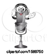 Clipart Of A Microphone Mascot Character Wearing Headphones Royalty Free Vector Illustration by BNP Design Studio