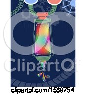 Clipart Of A Fantasy Crayon Rainbow Color Mixing Machine Dropping Colors Royalty Free Vector Illustration