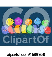 Clipart Of A Group Of Colorful Characters With Text On Blue Royalty Free Vector Illustration