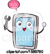 Tablet Mascot Holding A Wrench And Speaking Coding