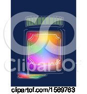 Clipart Of A Rainbow Colored Ink Inside A Glass Container Or Jar Royalty Free Vector Illustration