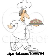 Clipart Of A White Male Chef Walking With A Platter Of Potatoes Royalty Free Vector Illustration
