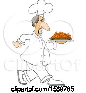 Clipart Of A White Male Chef Walking With A Platter Of Carrots Royalty Free Vector Illustration