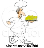 Clipart Of A White Male Chef Walking With A Platter Of Corn On The Cob Royalty Free Vector Illustration