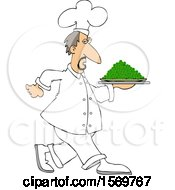 Clipart Of A White Male Chef Walking With A Platter Of Peas Royalty Free Vector Illustration
