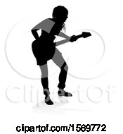 Silhouetted Female Guitarist With A Reflection Or Shadow On A White Background