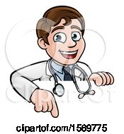 Clipart Of A Cartoon Friendly Brunette White Male Doctor Pointing Down Over A Sign Royalty Free Vector Illustration