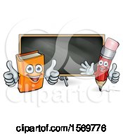Clipart Of A Cartoon Red Pencil And Orange Book In Front Of A Blackboard Royalty Free Vector Illustration