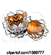 Vicious Tiger Mascot Breaking Through A Wall With A Basketball