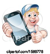 Clipart Of A White Male Handyman Giving A Thumb Up And Holding Out A Smart Phone Royalty Free Vector Illustration