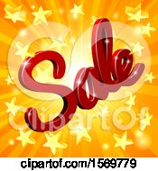 Clipart Of A 3d Red Sale Text Design Over A Star Burst Royalty Free Vector Illustration