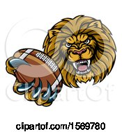 Clipart Of A Tough Lion Monster Mascot Holding Out An American Football In One Clawed Paw Royalty Free Vector Illustration