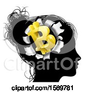 Clipart Of A Black Silhouetted Womans Head With A 3d Gold Bitcoin Symbol Breaking Out Thinking About Money Royalty Free Vector Illustration