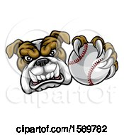 Tough Bulldog Monster Mascot Holding Out A Baseball In One Clawed Paw