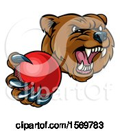 Mad Grizzly Bear Mascot Holding Out A Cricket Ball In A Clawed Paw