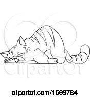 Lineart Exhausted Tabby Cat