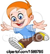 Clipart Of A Happy Red Haired Boy Running Royalty Free Vector Illustration