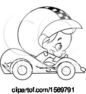 Clipart Of A Lineart Cute Boy Driving A Race Car Royalty Free Vector Illustration