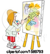 Clipart Of A Girl Painting Art On Canvas No Picasso Royalty Free Vector Illustration by Johnny Sajem
