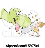 Cartoon Cavewoman Holding A Giant Dish And Feeding Her Pet Dinosaur