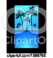 Silhouetted Palm Trees Reflecting On Still Blue Water With A Black Border