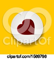 Clipart Of A Red Heart In A White Circle On Yellow Royalty Free Vector Illustration