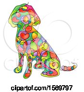 Colorful Sitting Dog With Hearts And Swirls