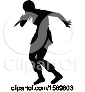 Clipart Of A Silhouetted Female Singer Royalty Free Vector Illustration by AtStockIllustration