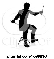 Silhouetted Male Drummer With A Reflection Or Shadow On A White Background