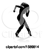 Silhouetted Female Hip Hop Dancer With A Reflection Or Shadow On A White Background