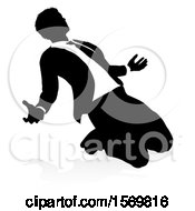 Clipart Of A Silhouetted Business Man Kneeling And Worshiping With A Shadow On A White Background Royalty Free Vector Illustration