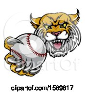 Tough Lynx Monster Mascot Holding Out A Baseball In One Clawed Paw